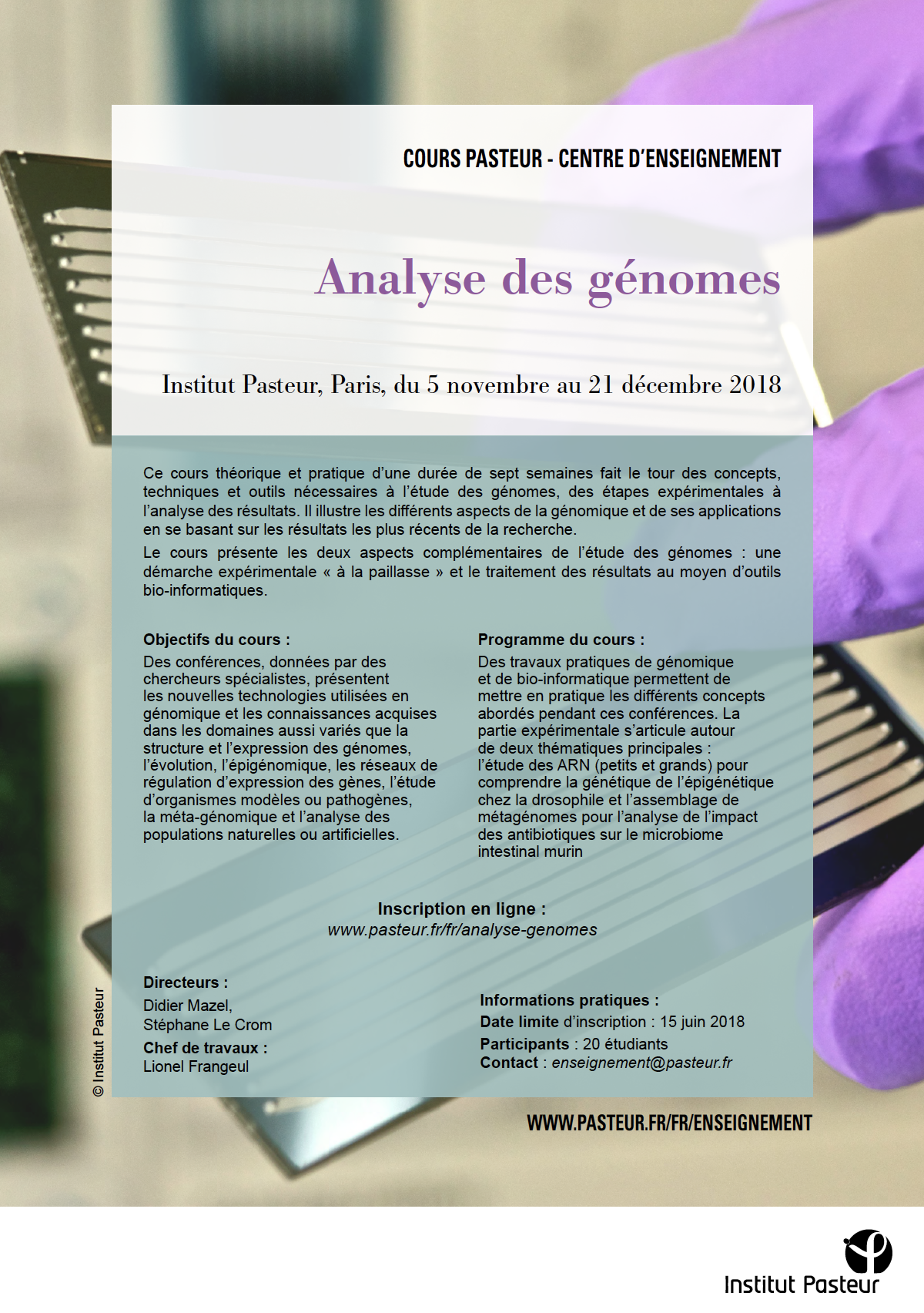 Genome analysis Flyer - Course 2018