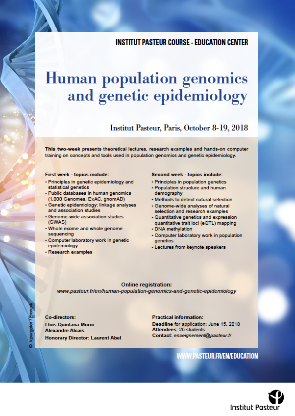 Human population genomics and genetic epidemiology Flyer - Course 2018