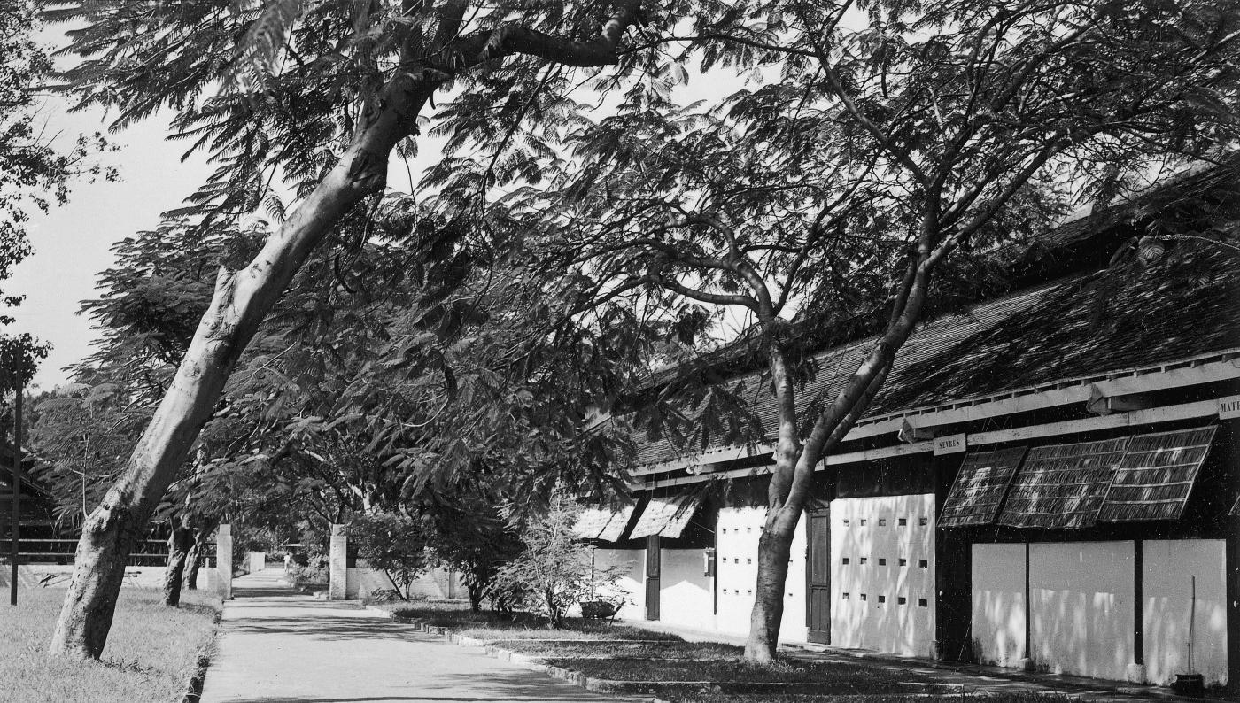 Jardin et bâtiment de l'Institut Pasteur du Cambodge, 1960 - Institut Pasteur